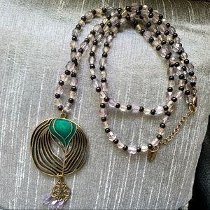NEW Beaded gold medallion pendant necklace AEO